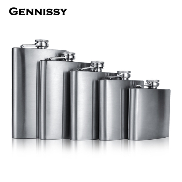 GENNISSY 5 6 7 8 10 12oz Stainless Steel Hip Flask Liquor Whisky Outdoor Portable Pocket Flasks Alcohol Bottle