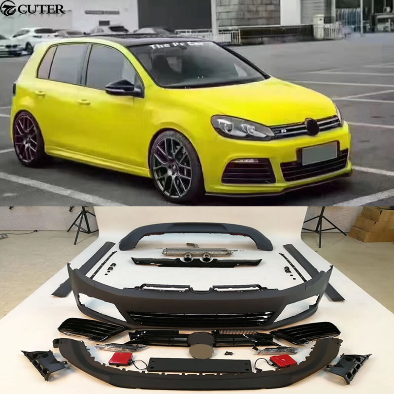 golf 6 r20 pp unpainted car body kits front bumper rear bumper side skirts exhaust for. Black Bedroom Furniture Sets. Home Design Ideas