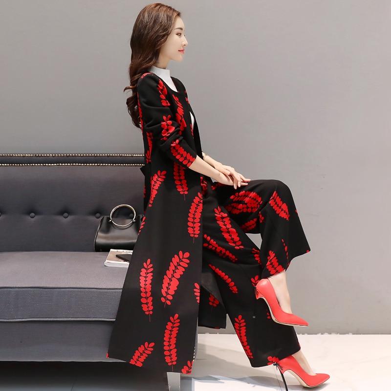Conjunto Black Primavera Impresión Delgada And 2018 Simple Red Nuevo Sueltos White Pantalones Y Moda Coat Trench Temperamento black Piezas Dos Otoño Coreana TnxqSCaxw