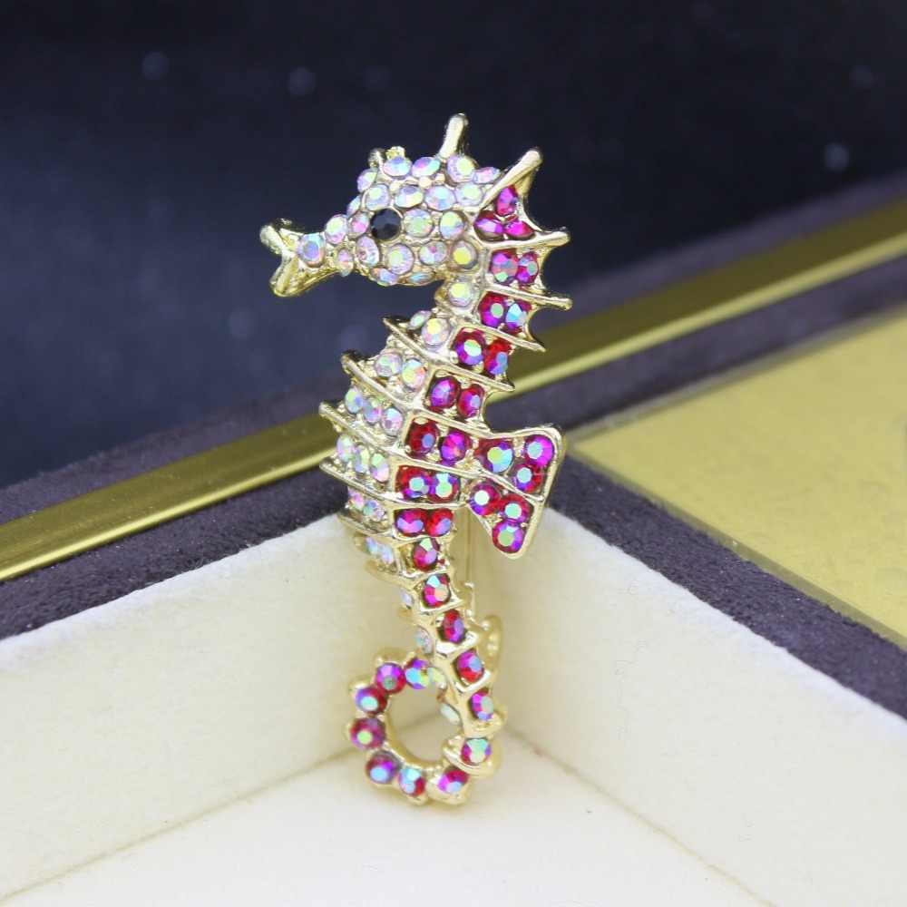 542b4c91a2 Seahorse Rhinestone Brooch For Women Cute Enamel Pins Trendy Brooches Lapel  Pin Vintage Men Jewelry Karl Pin Badge Baby Pins