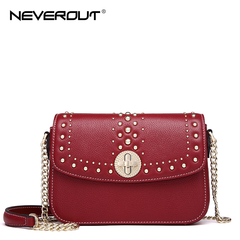 NeverOut 2018 Women Genuine Leather Shoulder Sac Solid Rivet Messenger Bags Small Flap Handbags Ladies Brand New Cross body Bag