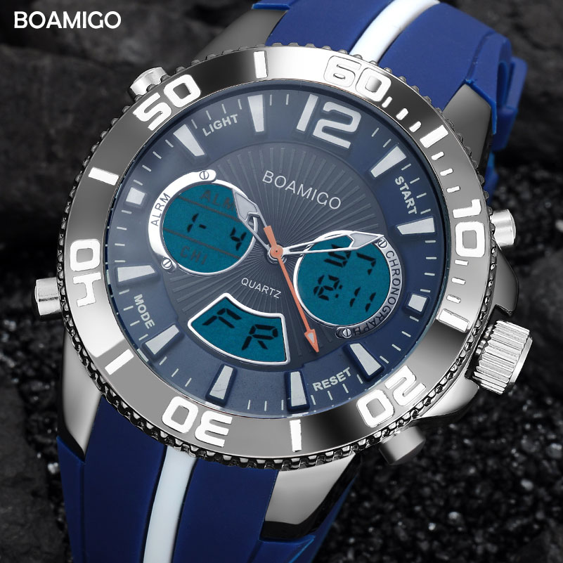 Men Sport Watches Rubber Watches Analog Digital Quartz Watch BOAMIGO Brand Male LED 30M Waterproof Wristwatches Reloj Hombre я immersive digital art 2018 02 10t19 30
