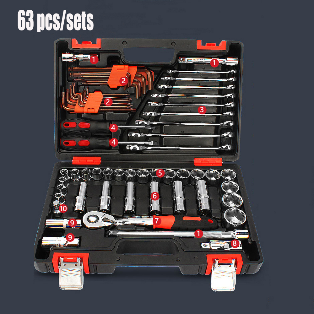 Household Tool Socket Car Repair Ratchet Wrench Set Combination Hand Tool Kit Cr-v Hand Tools Combination Bit Set 42pcs ratchet socket set screwdriver wrench electrician repair case multifuntion waist bag hand tool 35 0 combination tool case
