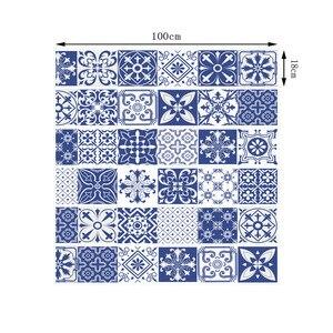 Image 2 - China Blau Weiß Porzellan Vinyl Aufkleber Keramik Fliesen für Raum Treppen Dekoration Wohnkultur Boden Wand Aufkleber