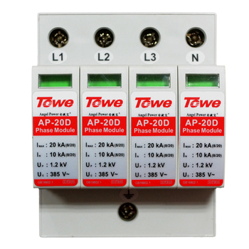 TOWE AP 20D 4P 20kA three phase surge protective device over voltage protector towe ap d20 1p n single phase overvoltage protector 1 1protect mode with npe overvoltage protector