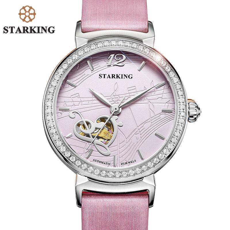 STARKING Top Brand Mechanical Watch For Ladies Stylish Pink Genuine Leather Women Business Watch 5ATM Waterproof Damske Hodinky цена 2017