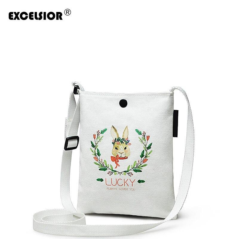 EXCELSIOR Cartoon Rabbit Printed Shoulder Bag Women Large Capacity Female Shopping Bag Canvas Handbag Summer Beach Bag Ladies