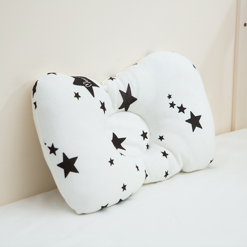 Newborn Infant Baby Anti Roll Pillow Stars Flower Decorate Anti Flat Head Breathable Washable Neck Prevent Kids Bedding Gift Red
