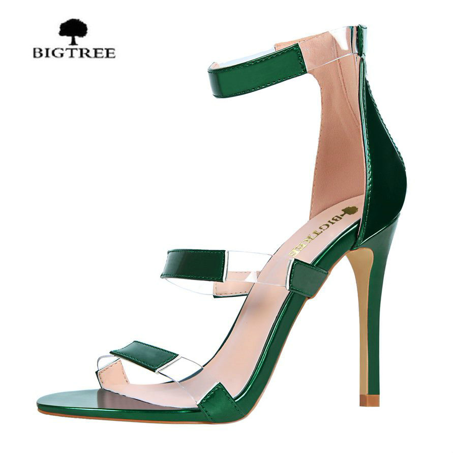 BIGTREE New Summer Shoes Woman Sandals High Heels Fashion Open toe Sandals Women Sexy Ankle Strap Sandalias Clothing Party shoes new ankle strap open toe high heels sexy ladies shoe women summer gold silver black sequins leather sexy sandals shoes smybk 022
