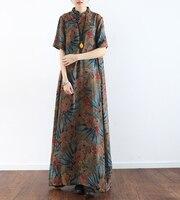 original new short sleeve summer vestidos 2018 women long vintage dresses chinese classic maxi dress retro robe longue femme ete