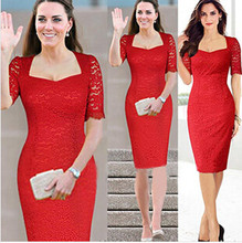 S-XXL Red Garment 2014 New Women Summer Casual Dress Princess Kate Middleton Vestidos Vintage Lace Red Bodycon Party Dresses D56(China)