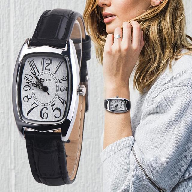 Reloj de pulsera de cuarzo de aleación analógica con correa de cuero para mujer