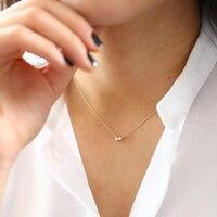 Муассанит F Цвет 3x5 мм 14 К желтого золота изумруд подвеска с 14 К золотая цепочка Цепочки и ожерелья для для женщин в Fine Jewelry