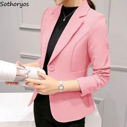 Блейзеры женские осенние тонкие элегантные однотонные корейские высокого качества большие размеры женская одежда простая универсальная