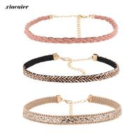 Xiacaier 3pcs Set Chokers Necklaces For Women Leather Rope Chain Colar Female Collier Femme Vintage Jewelry