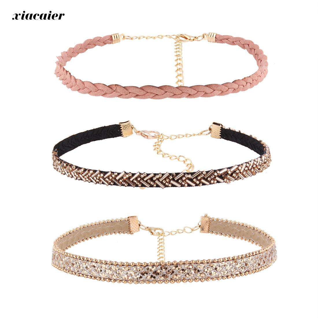 Xiacaier 3pcs/set Chokers Necklaces For Women Leather Rope Chain Colar Female Collier Femme Vintage Jewelry Chocker Wholesale fashion statement necklace red blue crystal flower pendant leather chain choker colar chokers necklaces women chocker jewelry