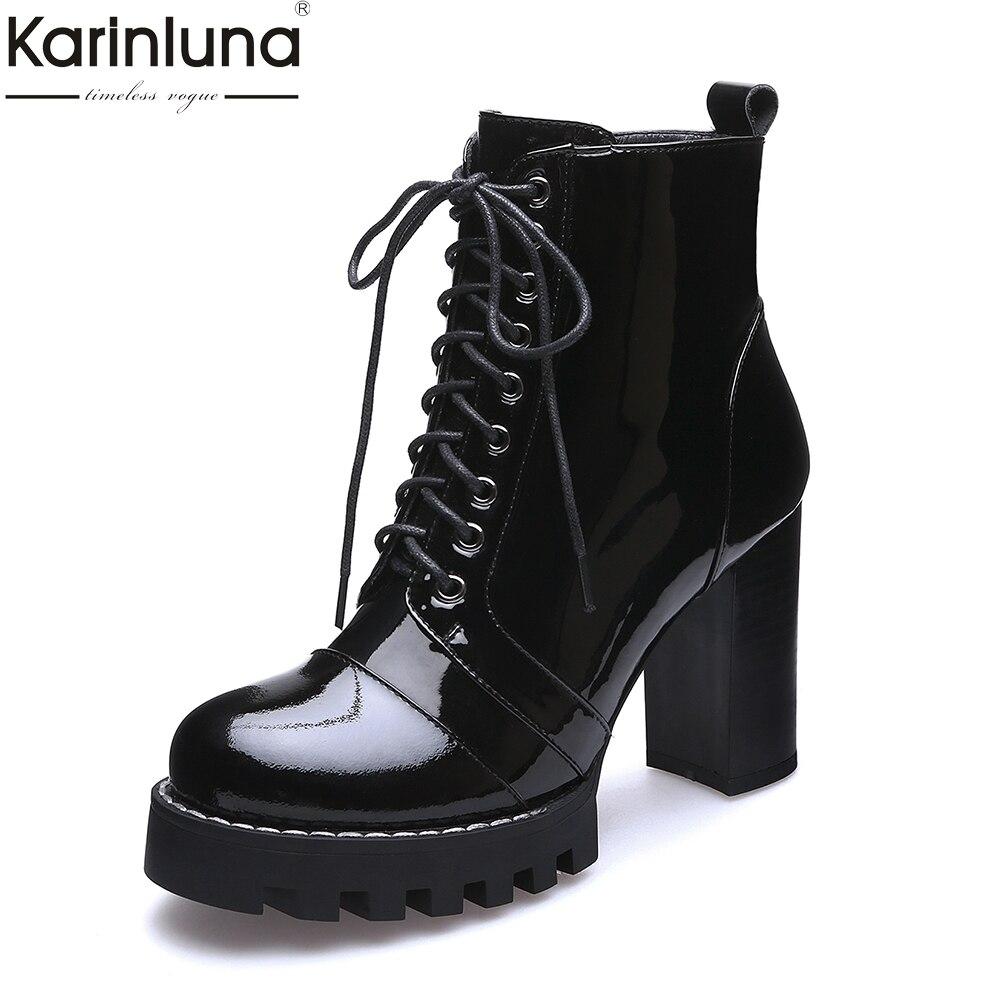 KarinLuna 2018 Big Size 35-41 brand design genuine leather Autumn Winter Ankle Boots Fashion High Heels Platform women's Shoes цена