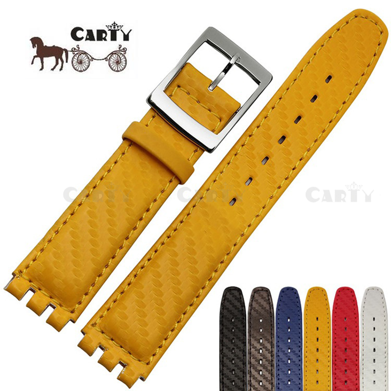 17mm Genuine Leather Strap Women Fashion Watch Red/Blue/Yellow/Black/Brown/White Waterproof Watchband for Swatch Watch high quality 17mm 19mm 23mm waterproof genuine leather watch strap band for swatch croco pattern black brown white