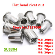 100pcs/kits M3 M4 M5 M6 M8 Stainless steel Flat Head Rivet Nuts Kits Rivnut Insert Thread Nut