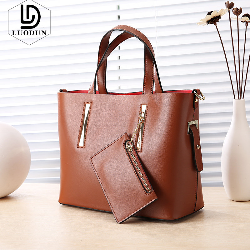 LUODUN Brand New big bag leather handbags leather wild fashion Europe and the United States large capacity laptop shoulder bag 2018 new europe and the united states flash metal long fashion wild temperament waist chain 937