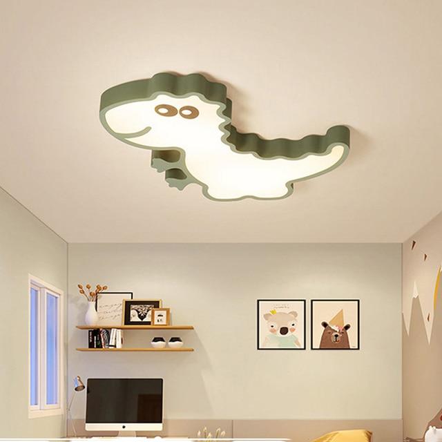 Dinosaur Baby Green Pink White Color Modern Led Ceiling Lights For Bedroom Kids Room
