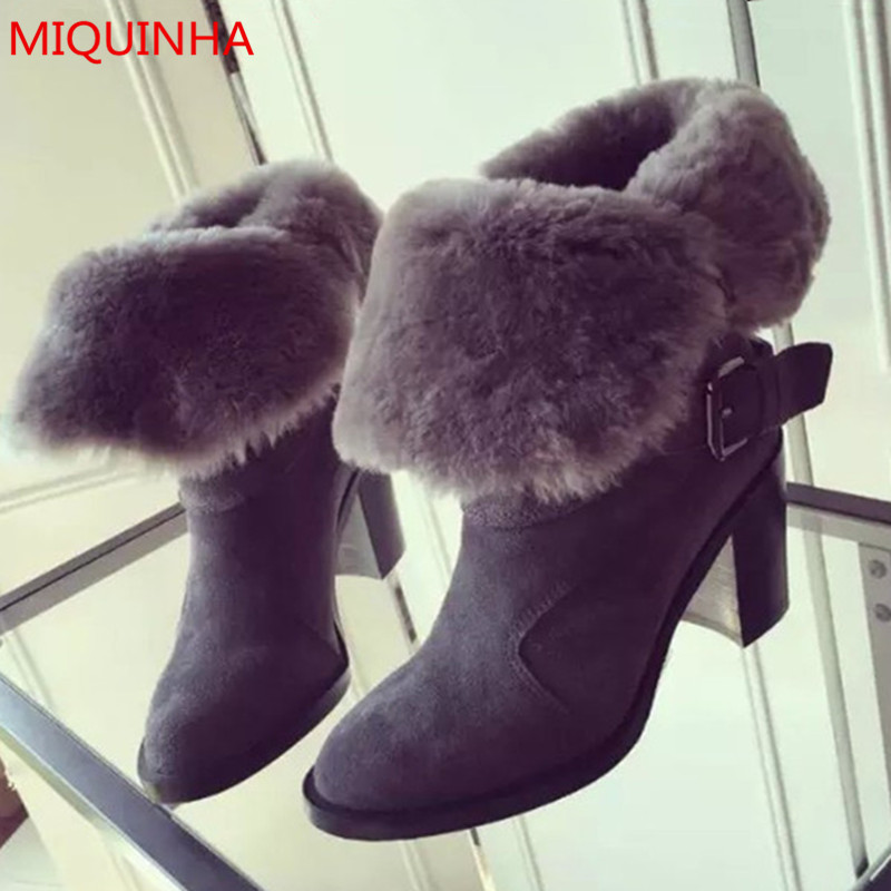 Hot New Women Buckle short boots Winter martin Snow Boots Fur fashion footwear warm boot zapatos Mujer high-heeled boots shoes