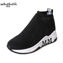 WHOHOLL 2018 High Top Fashion Sneakers Women Breathable Knit Upper Platform Shoes Slip-on Tenis Feminino Casual Shoes Women knit design slip on sneakers