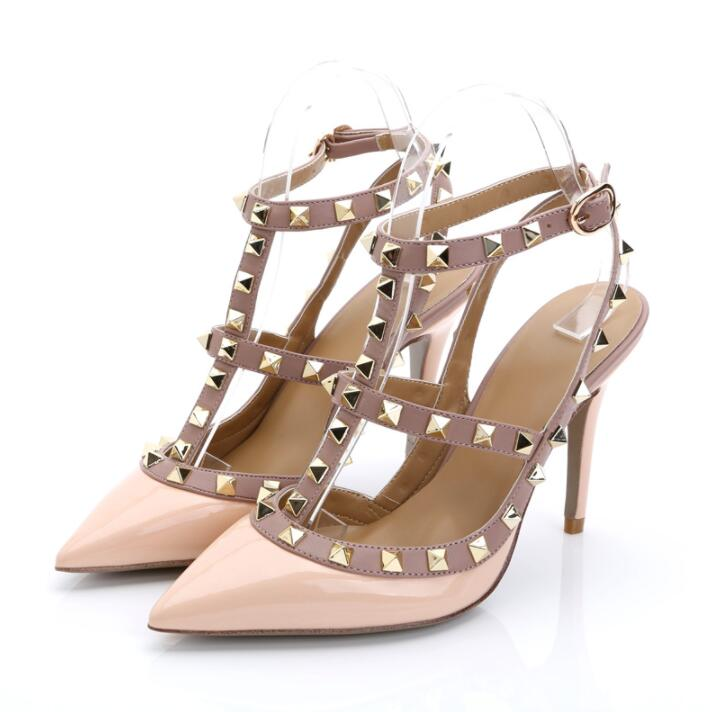 Brand V Sexy Rivet Women Black Matte Shoes High Heels Hollow Sandals Buckle Studded Stiletto Sandals Shoes 34-43 with BoxBrand V Sexy Rivet Women Black Matte Shoes High Heels Hollow Sandals Buckle Studded Stiletto Sandals Shoes 34-43 with Box