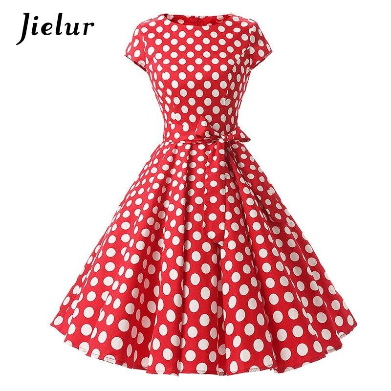 Jielur Summer O-neck Polka Dots Vintage Dress Women Lace-up Waistband Cotton Party Dresses Female 5 Colors Mujer Vestidos S-2XL