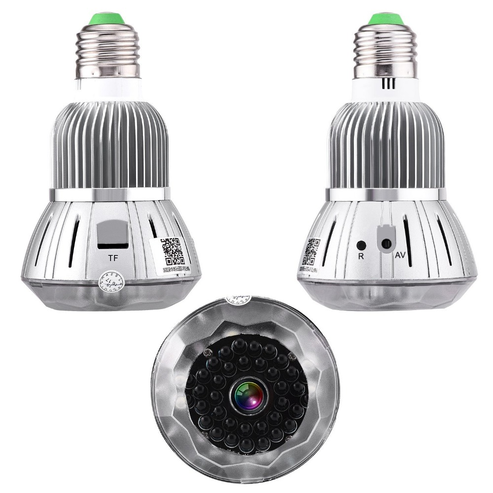 NEW 1080P HD Wireless Cam WiFi Camera with E27 Lamp Connector IR Night Vision H.264 DVR 160 Degrees Security Camera ...