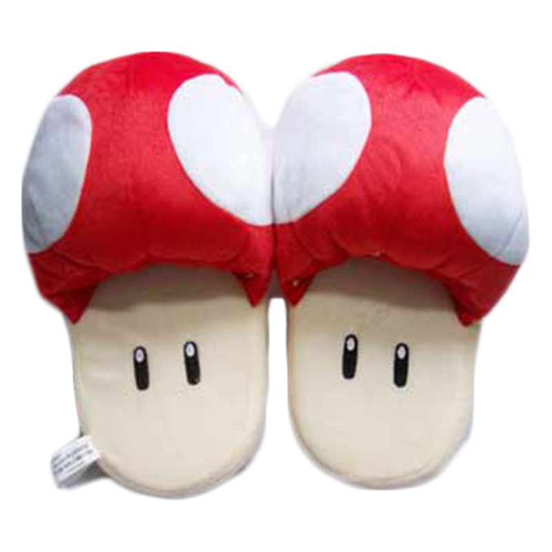 Slippers Catton Game Mario Bros Shoes Warm Blue Red The Mushroom Soft Plush Indoor Slippers Stuffed Toy free shipping