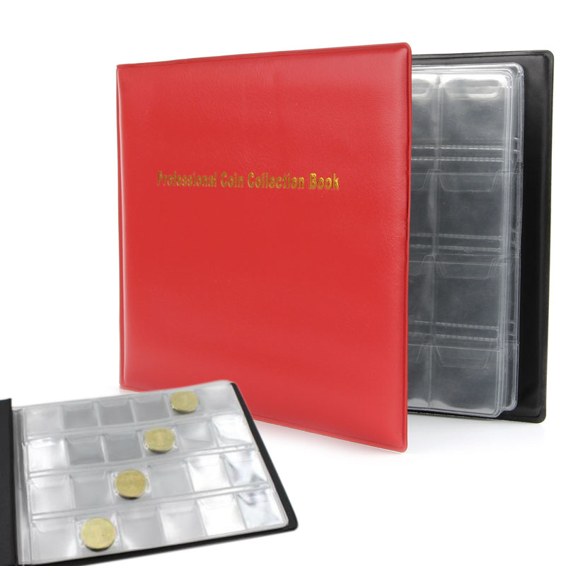 240 Collection Storage Penny Artificial Leather Cover Pockets Money Album Book Collecting Coin Holders 30mm*32mm image