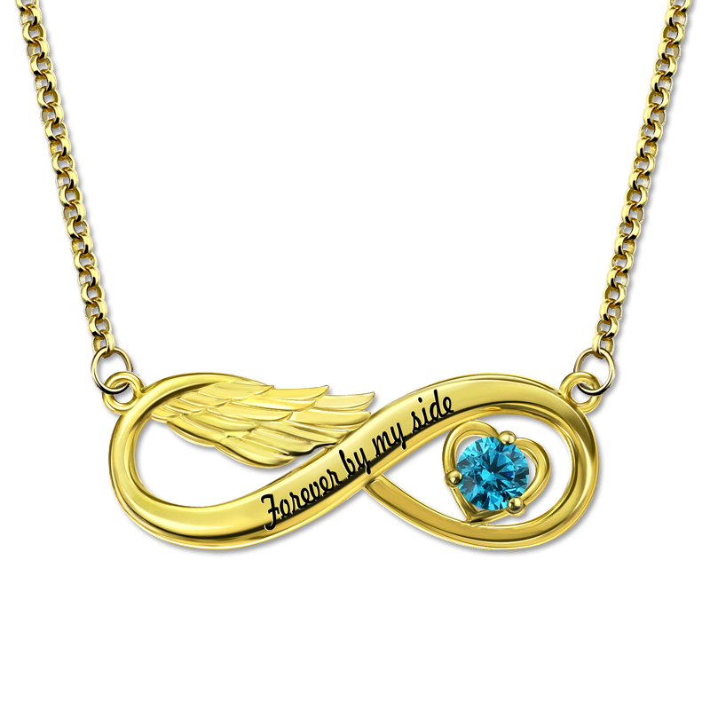 Custom Engraved Angel Wing Necklace with Birthstone Gold Color Infinity Jewelry for Mother serveware