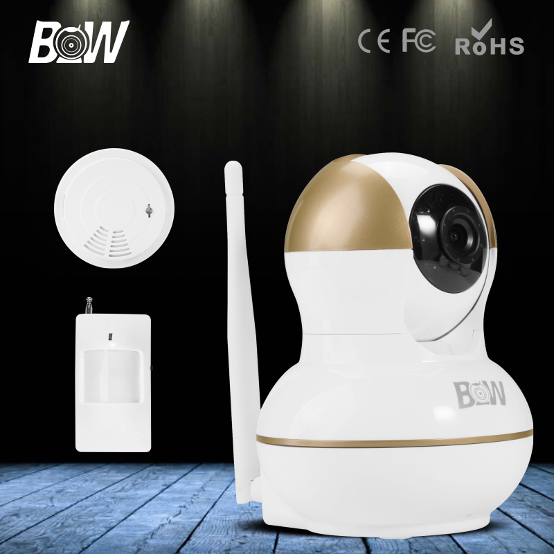 BW Wireless 3.6mm Endoscope IP Camera Wifi PTZ + Infrared Motion Sensor and Smoke Detector Security Cam HD 720P CCTV P2P Monitor bw wireless wifi door