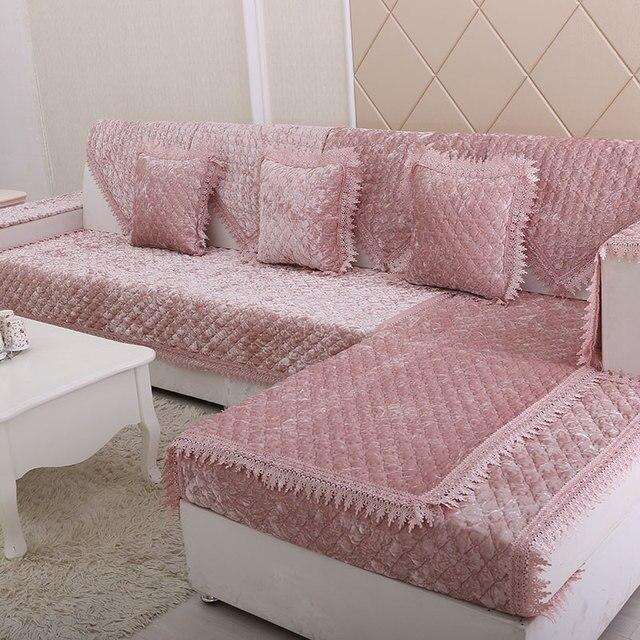 High Quality European Diamond Plush Combination Sofa Cushion Sofa Cover High  End Gold Velvet Slip
