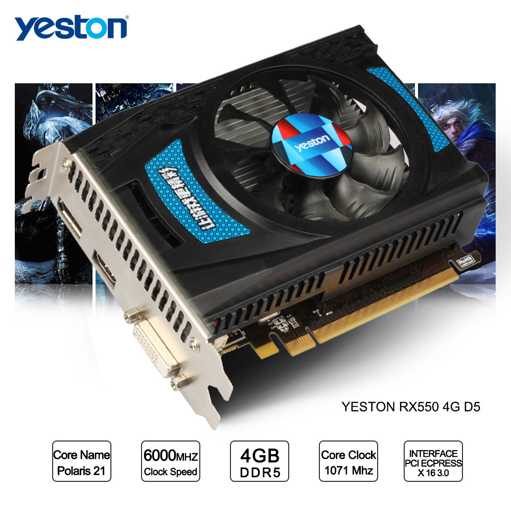 Yeston Radeon RX 550 GPU 4GB GDDR5 128bit Gaming Desktop computer PC