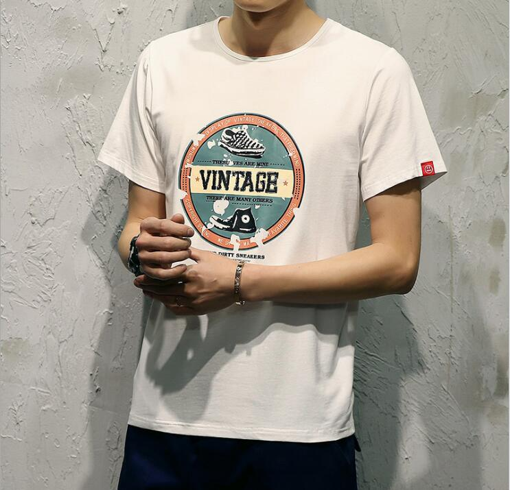 Clothing T-Shirt Cool Large-Size Fashion Casual Tee Round-Neck of The Korean-Version