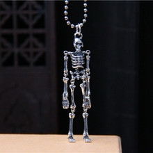 925 Sterling Silver 3D Skeleton Man Pendant Fashion Individualized Men/Women Jewelry Pendants For Making Necklace Wholesale
