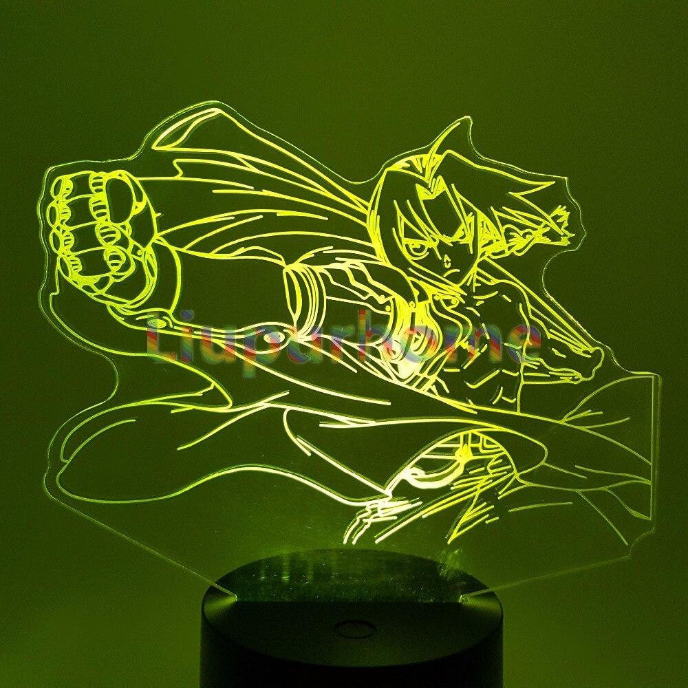 Fullmetal Alchemist Edward Elric 3D Night lights Visual Illusion LED Changing Novelty Light For Home Decor Christmas Gift