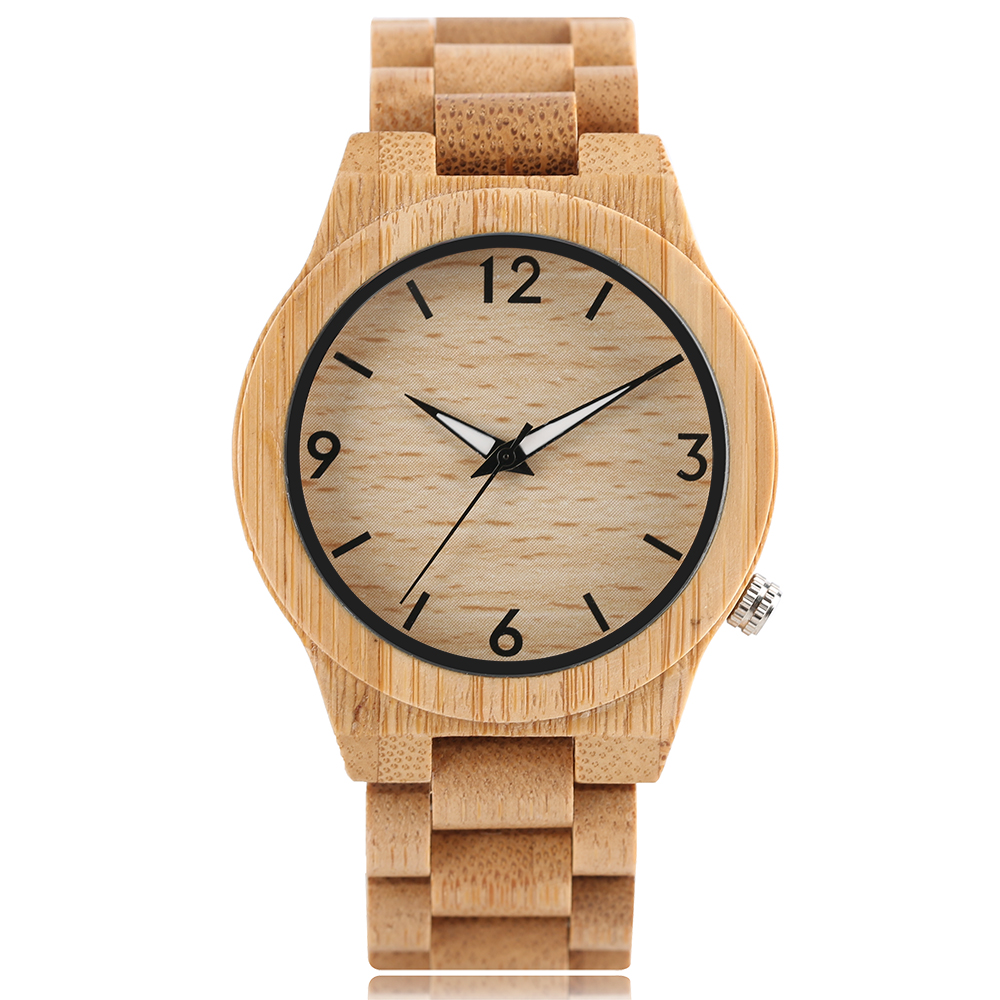 Simple Bamboo Fashion Bangle Quartz Wristwatch Men Full Wooden Gift Nature Wood Creative Watches 2017 New Arrival reloj hombre creative full wooden men wrist watch quartz simple nature wood women bamboo adjustable band strap minimalist birthday xmas gift
