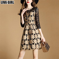 Liva Girl Womens Autumn Elegant Embroidery See Through Lace Party Evening Special Occasion Sheath Vestidos Bodycon