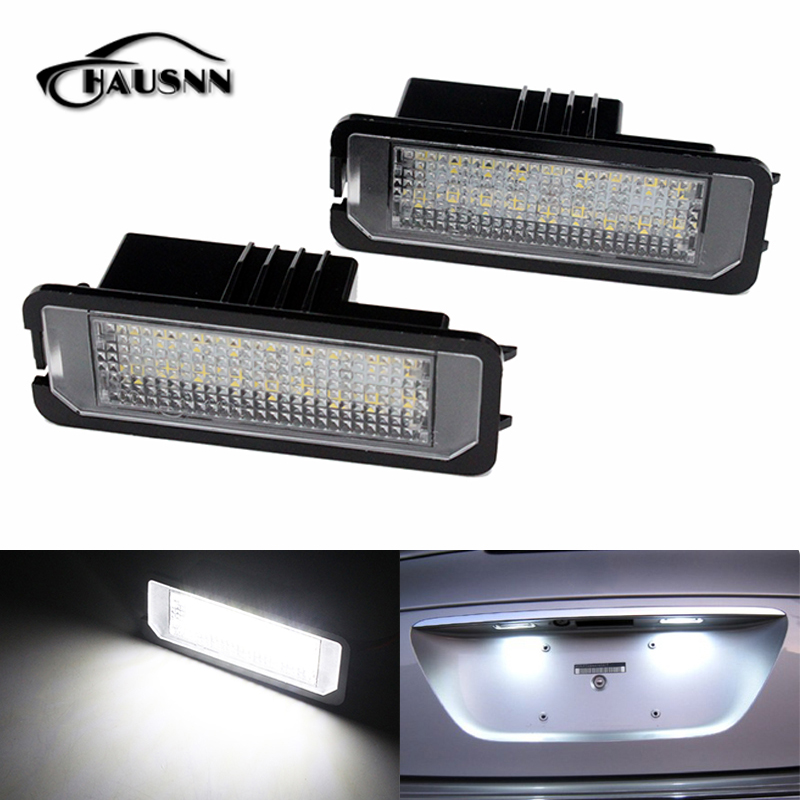 HAUSNN Canbus Error Free Number License Plate LED Lights For VW Amarok Eos Golf New Beetle Polo Passat CC Phaeton Scirocco Lupo  qook 2piece car error free led license number plate light lamp for porsche vw golf polo passat seat number plate lamp