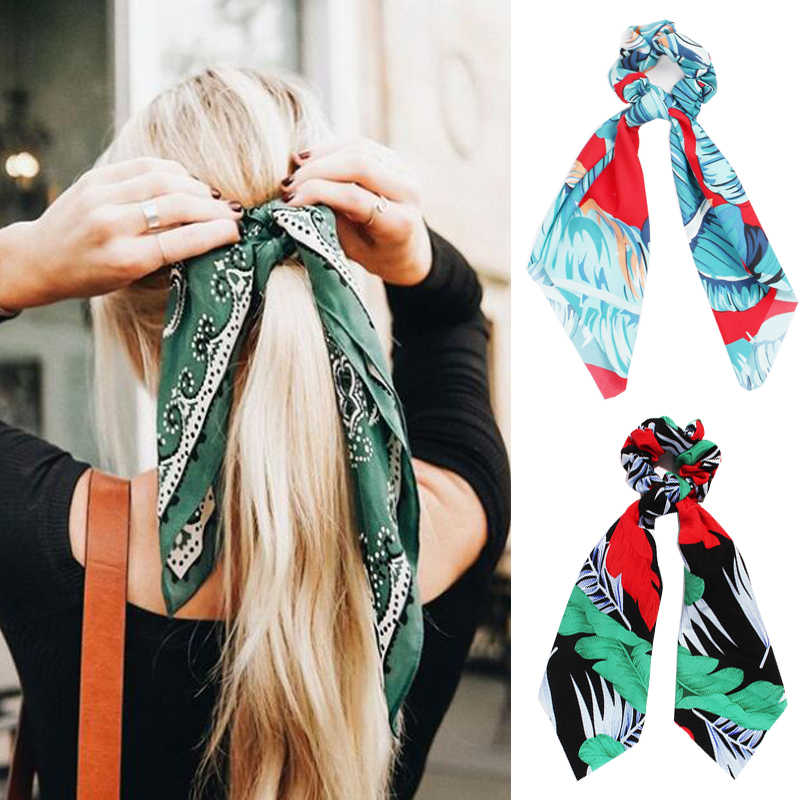 Summer Ponytail Scarf Stretch Hair Rope for Women Hair Bow Ties Scrunchies Hair Bands Leaf Flower Print Ribbon Hairbands