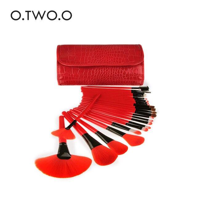 O. Dos. O 24 juegos de brochas de maquillaje profesional mango largo rojo conjunto de cosméticos de belleza conjunto de herramientas cosméticas