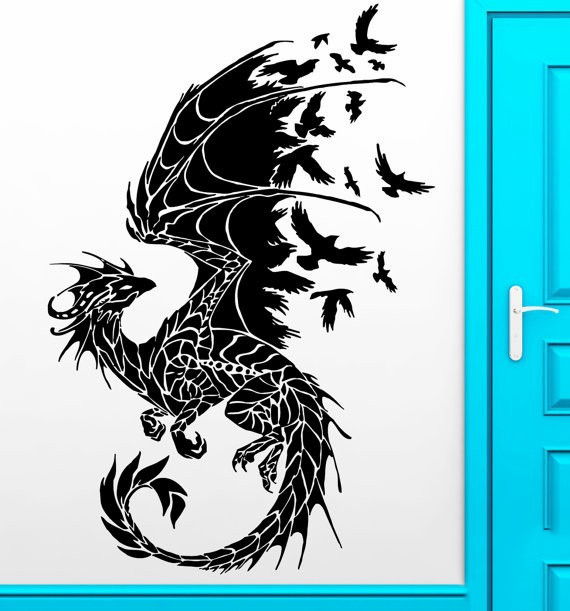Dragon Birds Fantasy Fairytale Gothic Wall Decals Vinyl Stickers Home Decor Kids Wall Stickers Stikers For Wall Decoration DIY