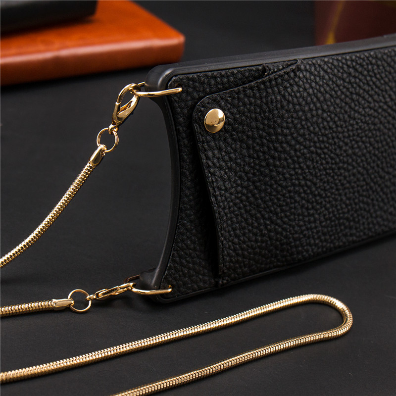 Credit Card Leather Wallet Strap Crossbody Long Chain Phone Case for Iphone 11 pro XR XS Max 6S 8 7 plus luxury Back cover coque