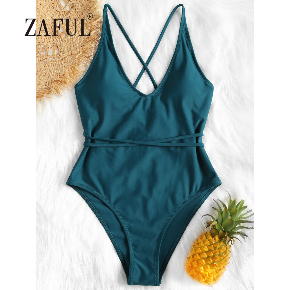 ZAFUL Women Swimsuit Crisscross High Leg One Piece Swimwear Self Tie Padded Swimwear sexy Spaghetti Straps Solid Swimming Suit