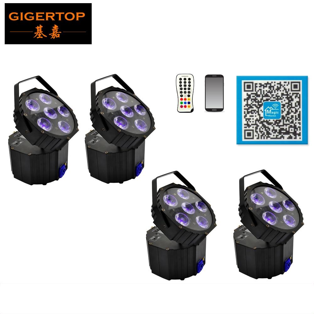Freeshipping 4 Unit New Small battery powered dj light 6*18W DMX Control DMX&wireless,auto Run,sound control,master 6in1 Color