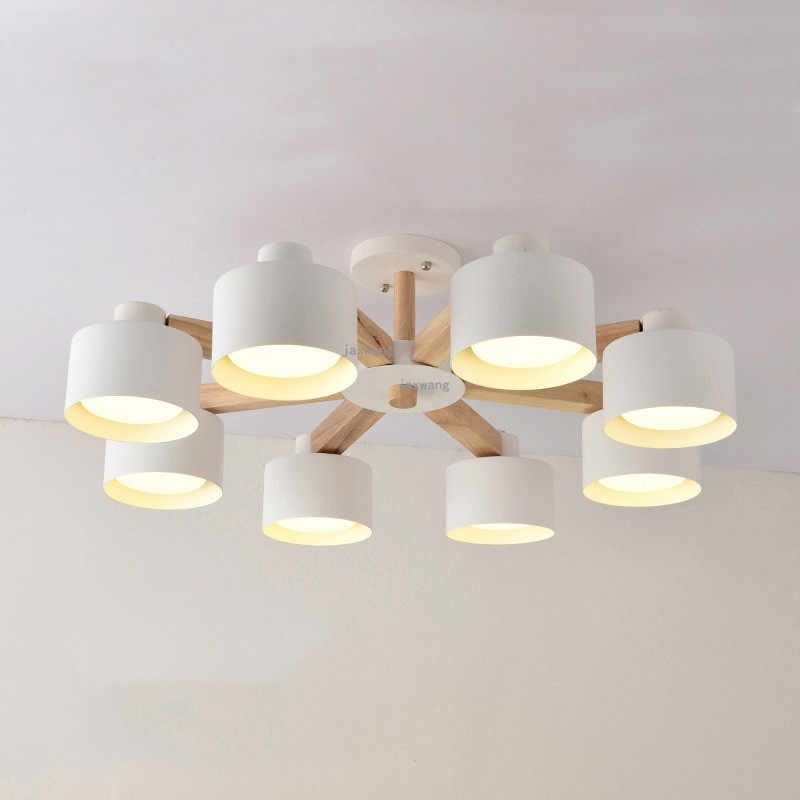 Nordic Lamp Lights Wood Decor Ceiling Chandelier In the Living Room Loft Bedroom Light LED Chandeliers Chandelier Lighting