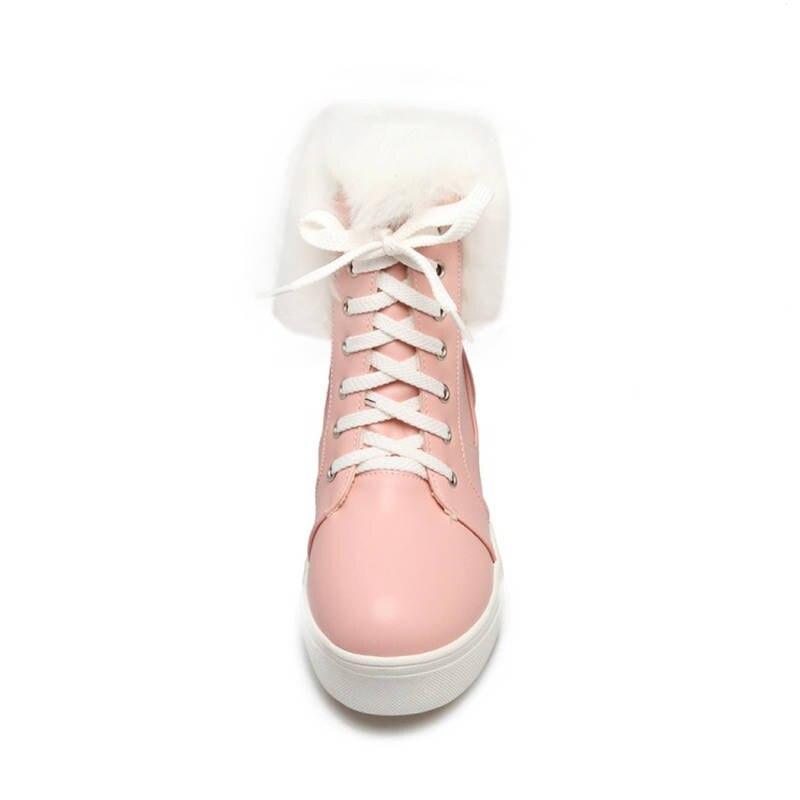 Up 44 Grande Lace blanco Beige Cómodos Simples rosado Nieve Mujer Tobillo Pie Invierno Morazora Zapatos Redondo Botas 34 Del Tamaño 2018 Dedo wEqn8Ipz